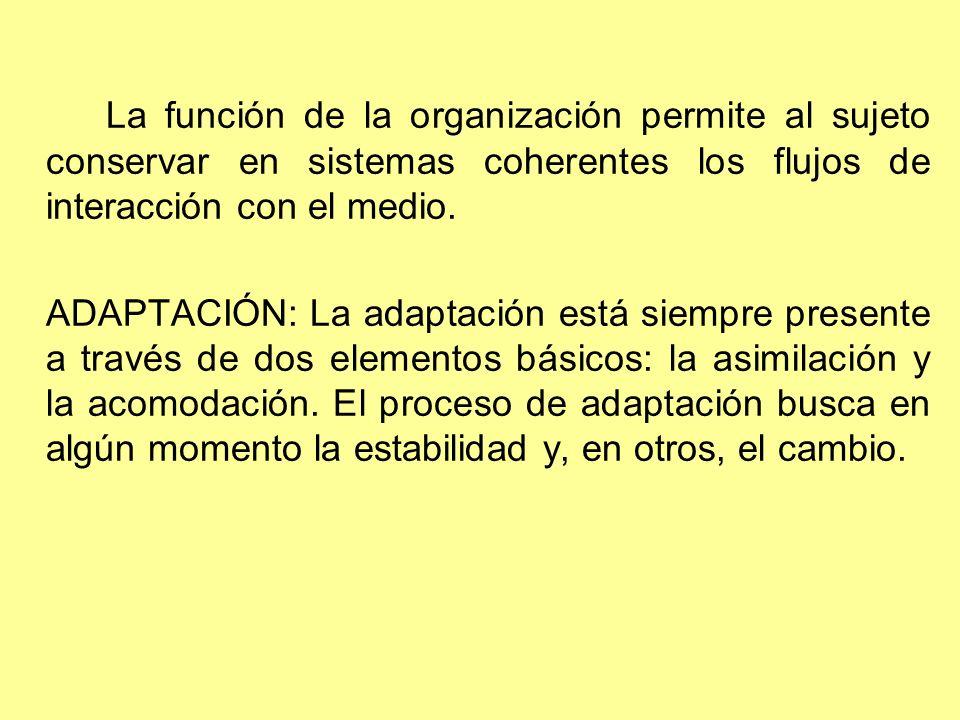 La función de la organización permite al sujeto conservar en sistemas coherentes los flujos de interacción con el medio. ADAPTACIÓN: La adaptación est