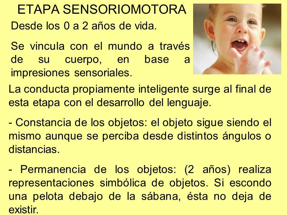 ETAPA SENSORIOMOTORA Desde los 0 a 2 años de vida. Se vincula con el mundo a través de su cuerpo, en base a impresiones sensoriales. La conducta propi