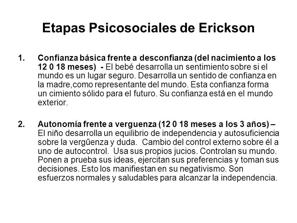 Etapas Psicosociales de Erickson 1.Confianza básica frente a desconfianza (del nacimiento a los 12 0 18 meses) - El bebé desarrolla un sentimiento sob