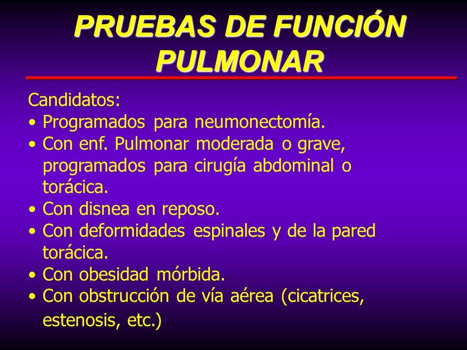Candidatos: Programados para neumonectomía. Con enf. Pulmonar moderada o grave, programados para cirugía abdominal o torácica. Con disnea en reposo. C