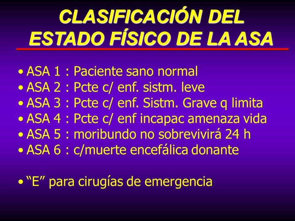 ASA 1 : Paciente sano normal ASA 2 : Pcte c/ enf. sistm. leve ASA 3 : Pcte c/ enf. Sistm. Grave q limita ASA 4 : Pcte c/ enf incapac amenaza vida ASA