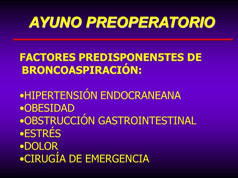 FACTORES PREDISPONEN5TES DE BRONCOASPIRACIÓN: HIPERTENSIÓN ENDOCRANEANA OBESIDAD OBSTRUCCIÓN GASTROINTESTINAL ESTRÉS DOLOR CIRUGÍA DE EMERGENCIA AYUNO