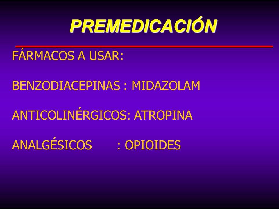 FÁRMACOS A USAR: BENZODIACEPINAS : MIDAZOLAM ANTICOLINÉRGICOS: ATROPINA ANALGÉSICOS: OPIOIDESPREMEDICACIÓN