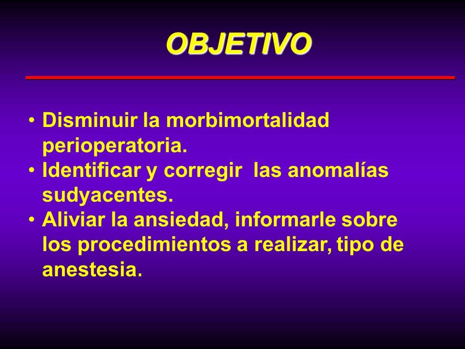 Disminuir la morbimortalidad perioperatoria. Identificar y corregir las anomalías sudyacentes. Aliviar la ansiedad, informarle sobre los procedimiento