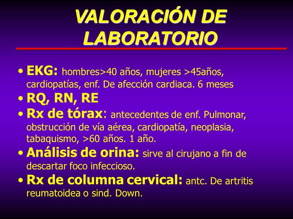 EKG: hombres>40 años, mujeres >45años, cardiopatías, enf. De afección cardiaca. 6 meses RQ, RN, RE Rx de tórax: antecedentes de enf. Pulmonar, obstruc