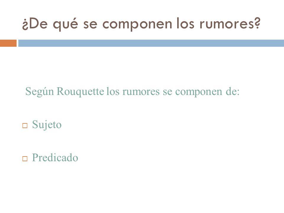 ¿De qué se componen los rumores? Según Rouquette los rumores se componen de: Sujeto Predicado