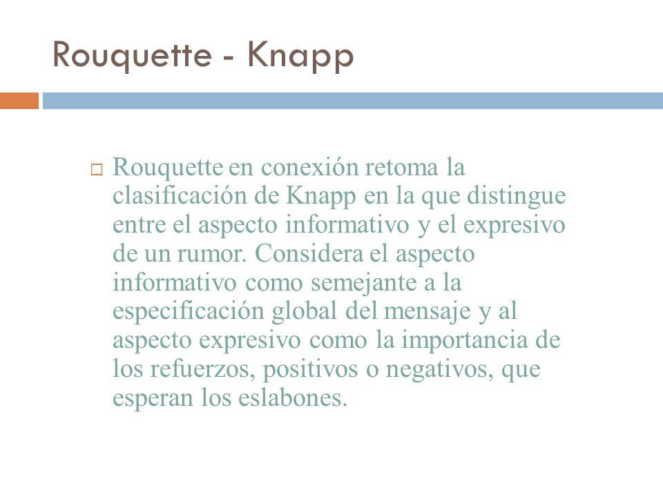 Rouquette - Knapp Rouquette en conexión retoma la clasificación de Knapp en la que distingue entre el aspecto informativo y el expresivo de un rumor.