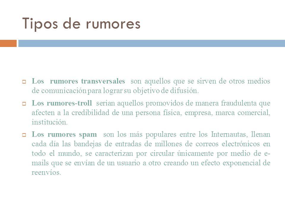 Tipos de rumores Los rumores transversales son aquellos que se sirven de otros medios de comunicación para lograr su objetivo de difusión. Los rumores