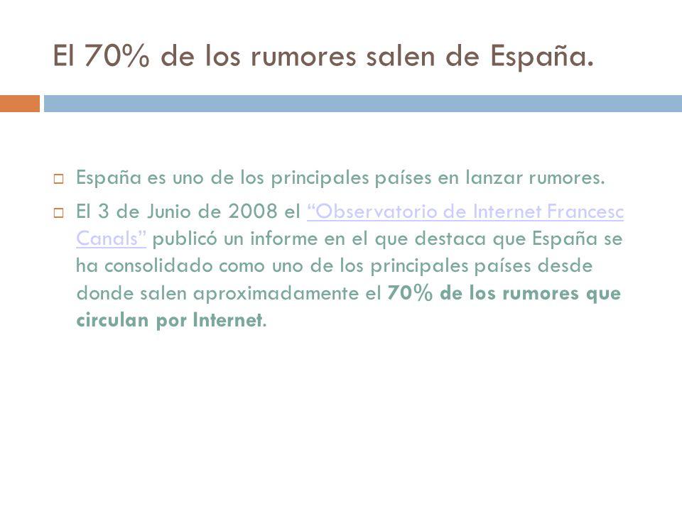 El 70% de los rumores salen de España. España es uno de los principales países en lanzar rumores. El 3 de Junio de 2008 el Observatorio de Internet Fr