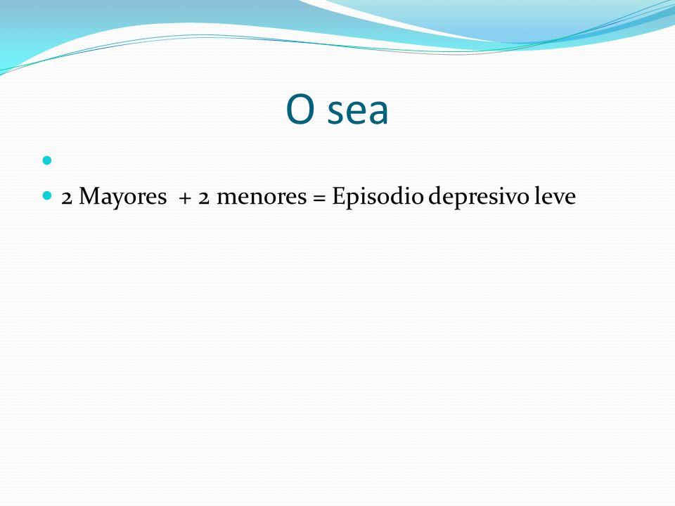 O sea 2 Mayores + 2 menores = Episodio depresivo leve