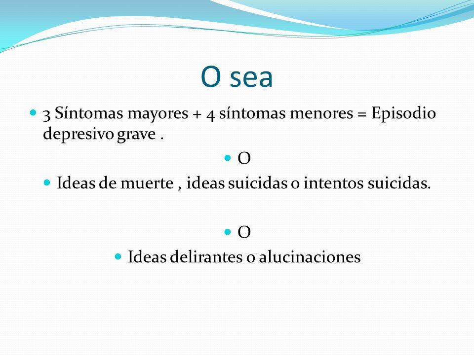 O sea 3 Síntomas mayores + 4 síntomas menores = Episodio depresivo grave. O Ideas de muerte, ideas suicidas o intentos suicidas. O Ideas delirantes o