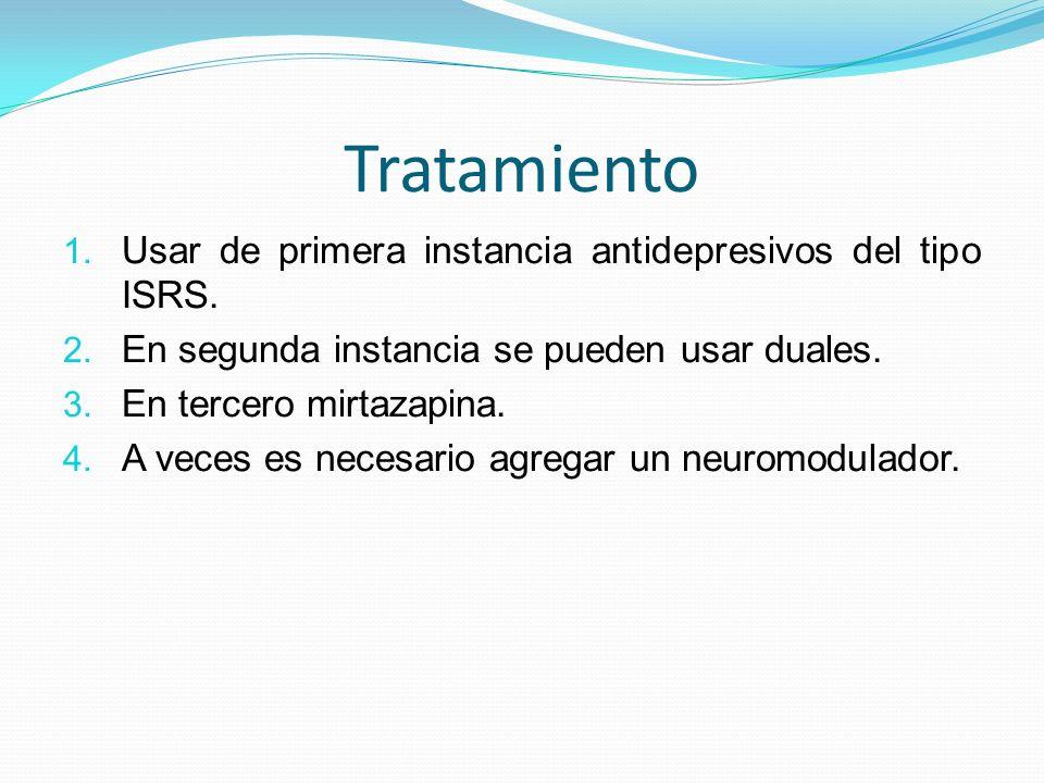 Tratamiento 1. Usar de primera instancia antidepresivos del tipo ISRS. 2. En segunda instancia se pueden usar duales. 3. En tercero mirtazapina. 4. A