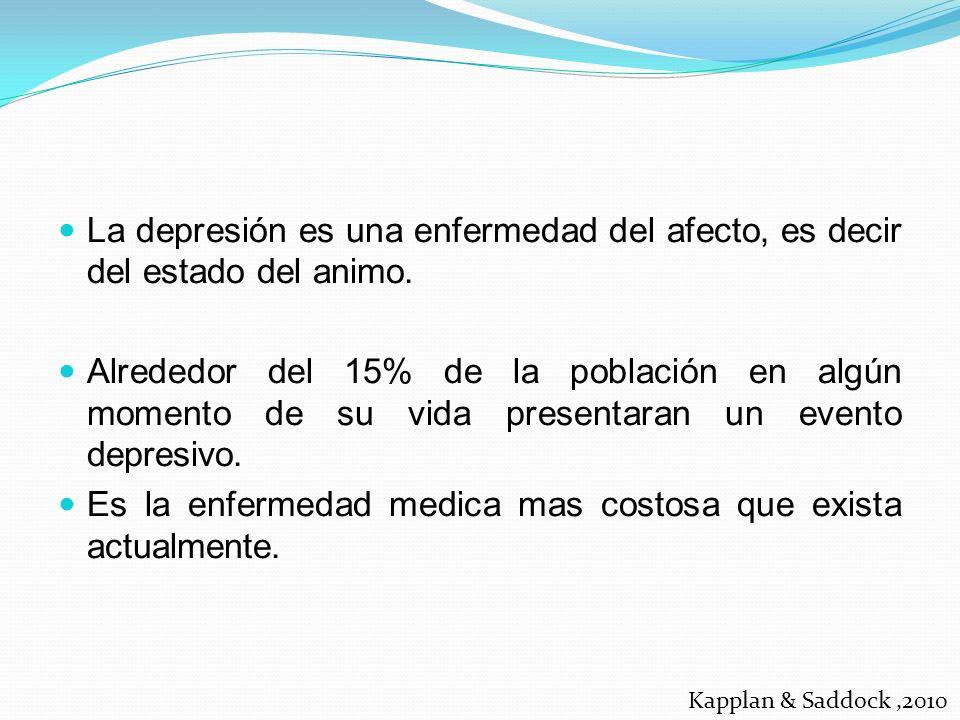 La depresión es una enfermedad del afecto, es decir del estado del animo. Alrededor del 15% de la población en algún momento de su vida presentaran un