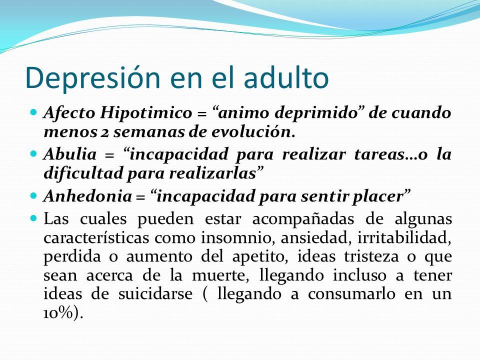 Depresión en el adulto Afecto Hipotimico = animo deprimido de cuando menos 2 semanas de evolución. Abulia = incapacidad para realizar tareas…o la difi