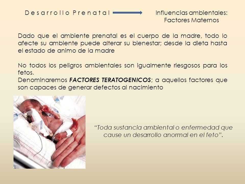 D e s a r r o l l o P r e n a t a lInfluencias ambientales: Factores Maternos Dado que el ambiente prenatal es el cuerpo de la madre, todo lo afecte s