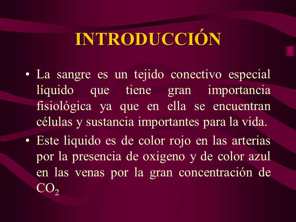 INTRODUCCIÓN La sangre es un tejido conectivo especial líquido que tiene gran importancia fisiológica ya que en ella se encuentran células y sustancia