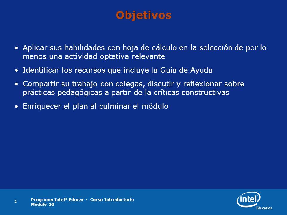 Programa Intel ® Educar - Curso Introductorio Módulo 10 3 Trabaje en parejas y luego comparta: Reflexión sobre el Módulo 8 Lea y revise las cuatro actividades opcionales de hoja de cálculo en el Anexo C2.