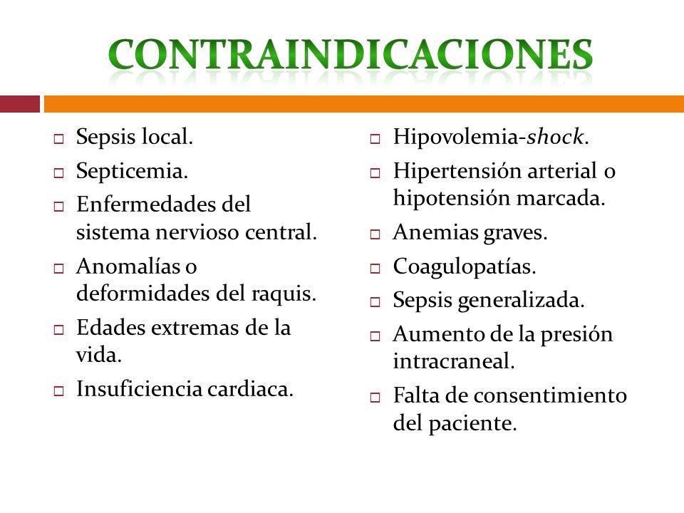 Sepsis local. Septicemia. Enfermedades del sistema nervioso central. Anomalías o deformidades del raquis. Edades extremas de la vida. Insuficiencia ca