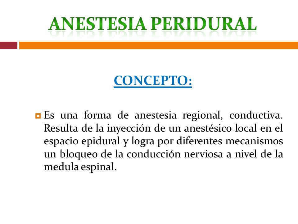 CONCEPTO: Es una forma de anestesia regional, conductiva. Resulta de la inyección de un anestésico local en el espacio epidural y logra por diferentes