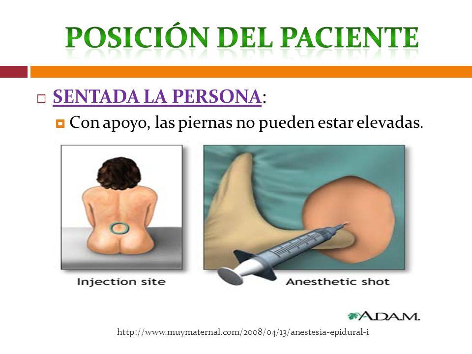 SENTADA LA PERSONA: Con apoyo, las piernas no pueden estar elevadas. http://www.muymaternal.com/2008/04/13/anestesia-epidural-i