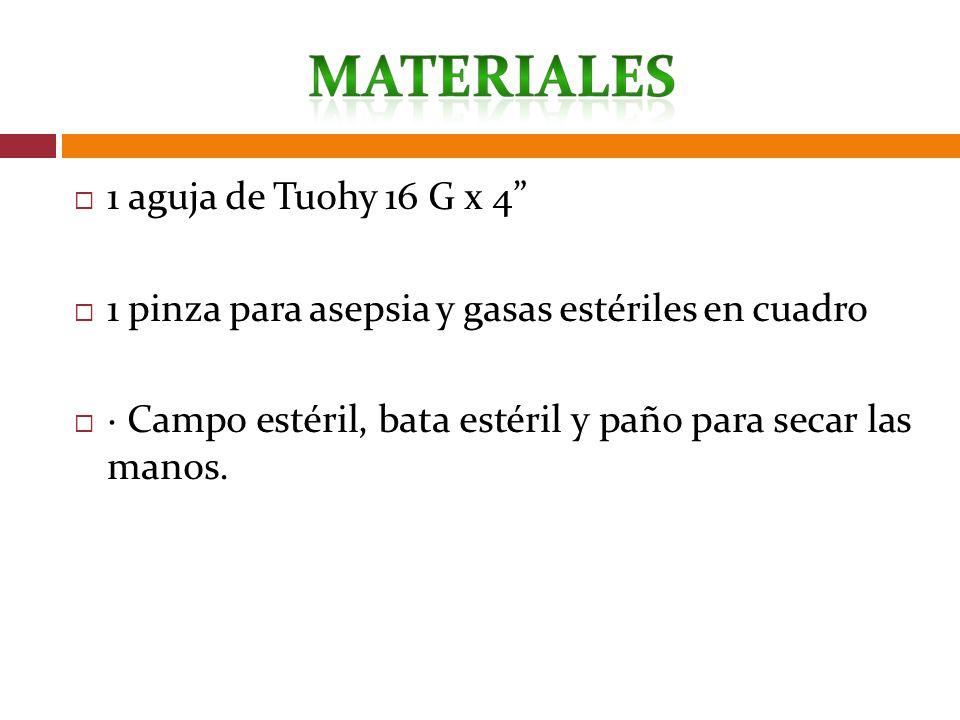 1 aguja de Tuohy 16 G x 4 1 pinza para asepsia y gasas estériles en cuadro · Campo estéril, bata estéril y paño para secar las manos.