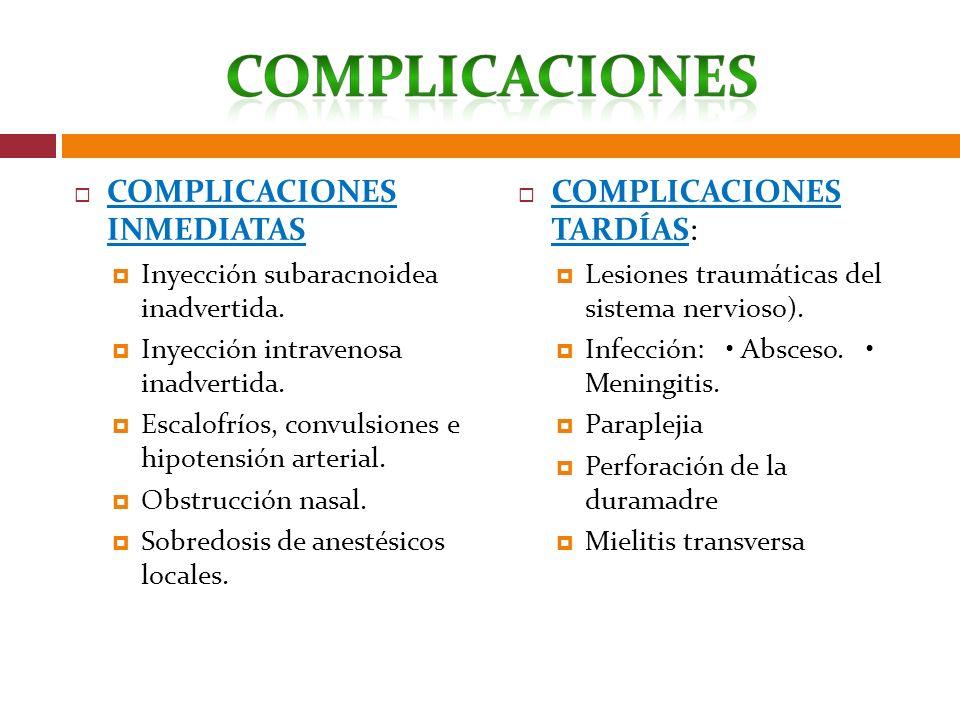 COMPLICACIONES INMEDIATAS Inyección subaracnoidea inadvertida. Inyección intravenosa inadvertida. Escalofríos, convulsiones e hipotensión arterial. Ob