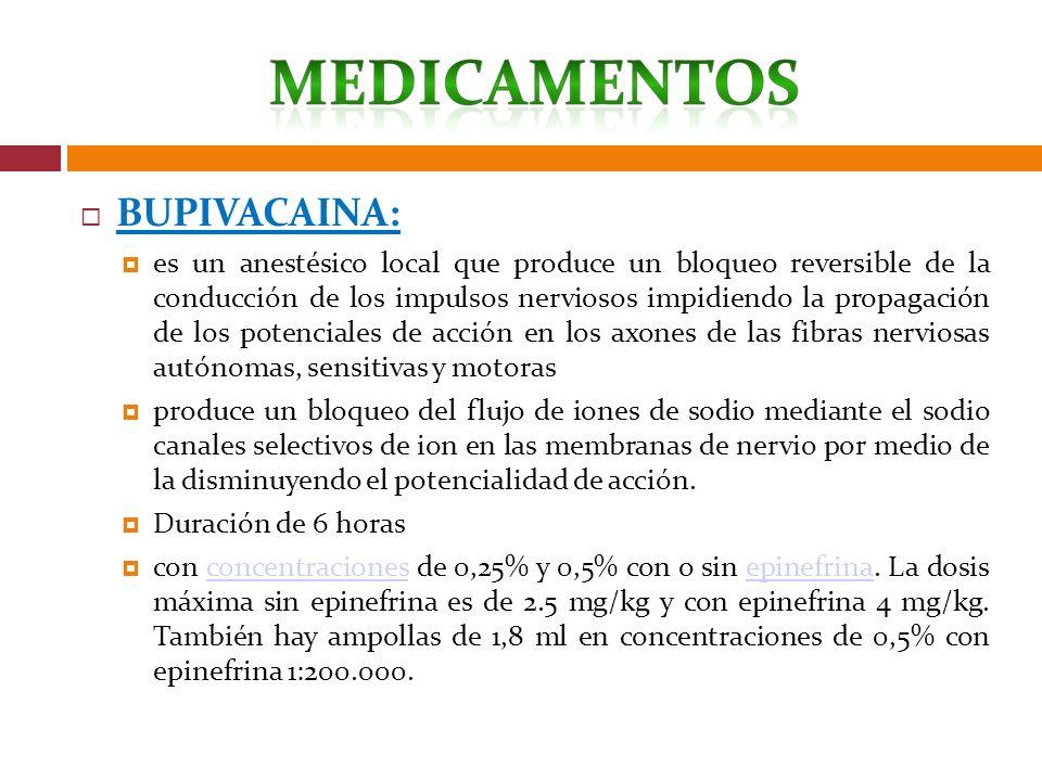 BUPIVACAINA: es un anestésico local que produce un bloqueo reversible de la conducción de los impulsos nerviosos impidiendo la propagación de los pote