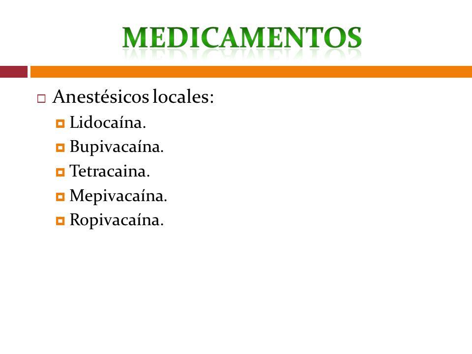 Anestésicos locales: Lidocaína. Bupivacaína. Tetracaina. Mepivacaína. Ropivacaína.