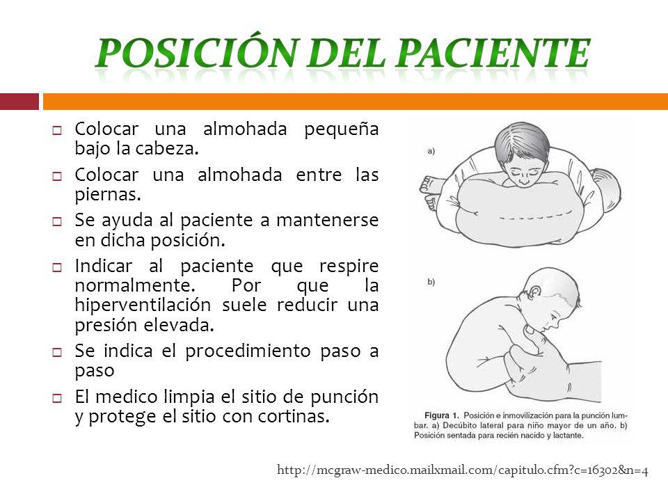 Colocar una almohada pequeña bajo la cabeza. Colocar una almohada entre las piernas. Se ayuda al paciente a mantenerse en dicha posición. Indicar al p