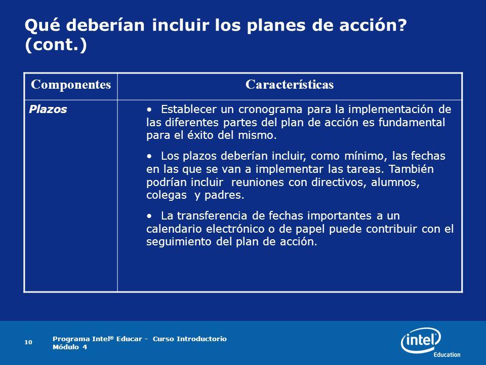 Programa Intel ® Educar - Curso Introductorio Módulo 4 10 Qué deberían incluir los planes de acción? (cont.) ComponentesCaracterísticas PlazosEstablec