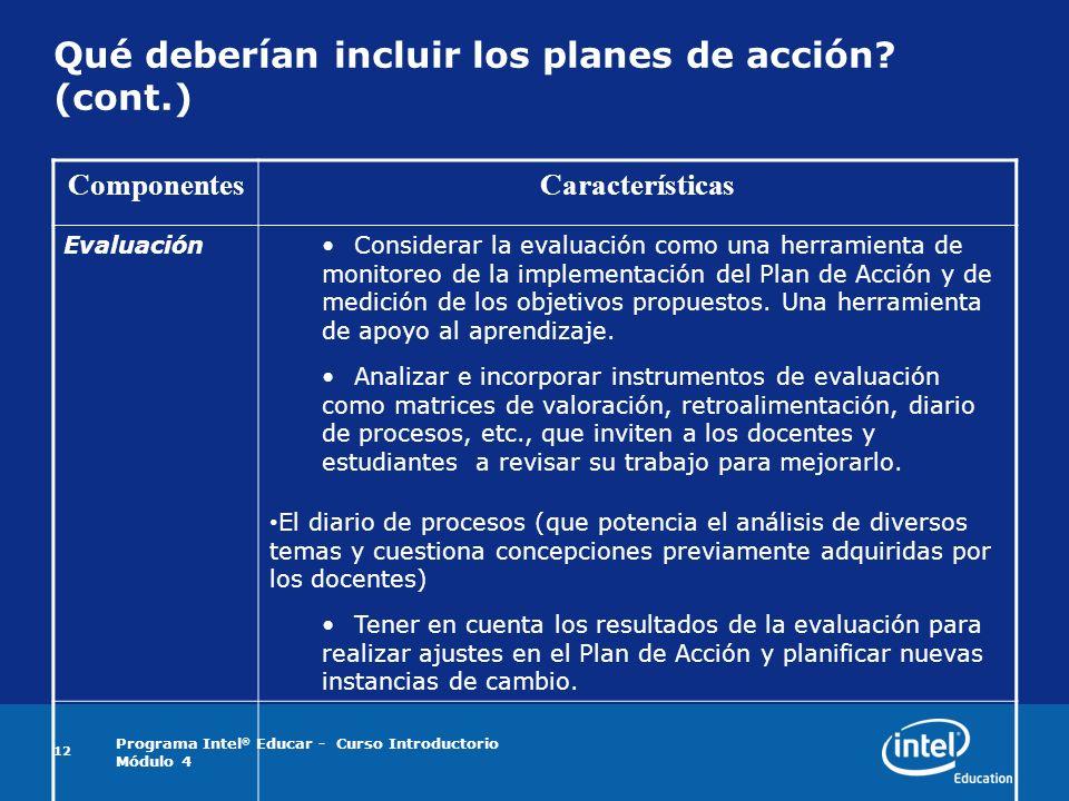 Programa Intel ® Educar - Curso Introductorio Módulo 4 12 Qué deberían incluir los planes de acción? (cont.) ComponentesCaracterísticas EvaluaciónCons