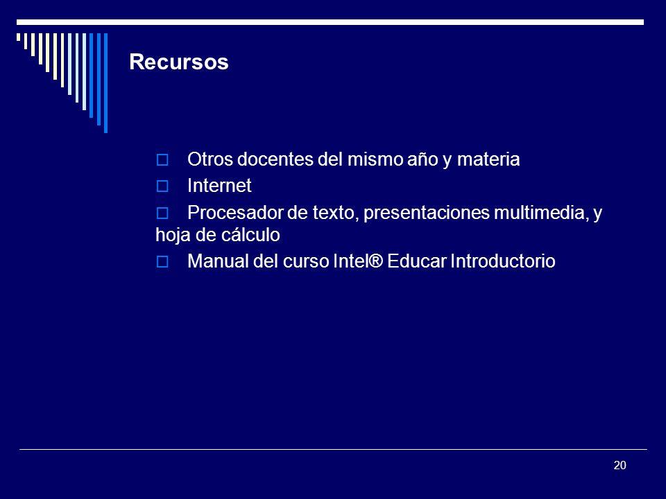 20 Recursos Otros docentes del mismo año y materia Internet Procesador de texto, presentaciones multimedia, y hoja de cálculo Manual del curso Intel®