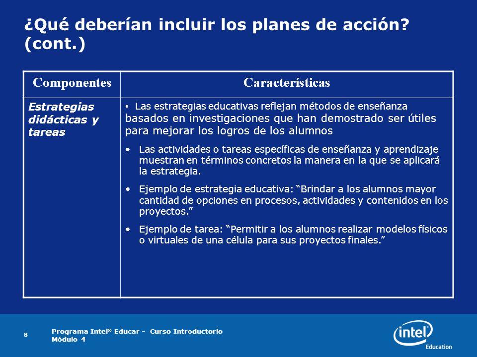 Programa Intel ® Educar - Curso Introductorio Módulo 4 8 ¿Qué deberían incluir los planes de acción? (cont.) ComponentesCaracterísticas Estrategias di