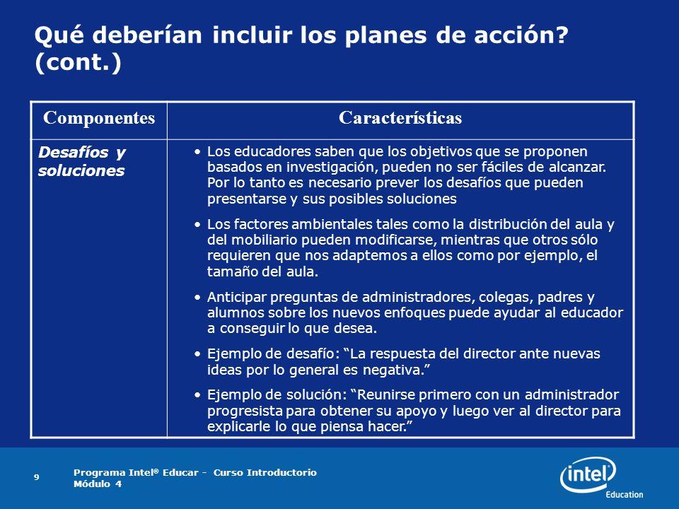 Programa Intel ® Educar - Curso Introductorio Módulo 4 9 Qué deberían incluir los planes de acción? (cont.) ComponentesCaracterísticas Desafíos y solu