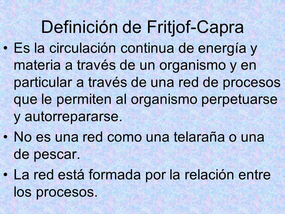 Definición de Fritjof-Capra Es la circulación continua de energía y materia a través de un organismo y en particular a través de una red de procesos q