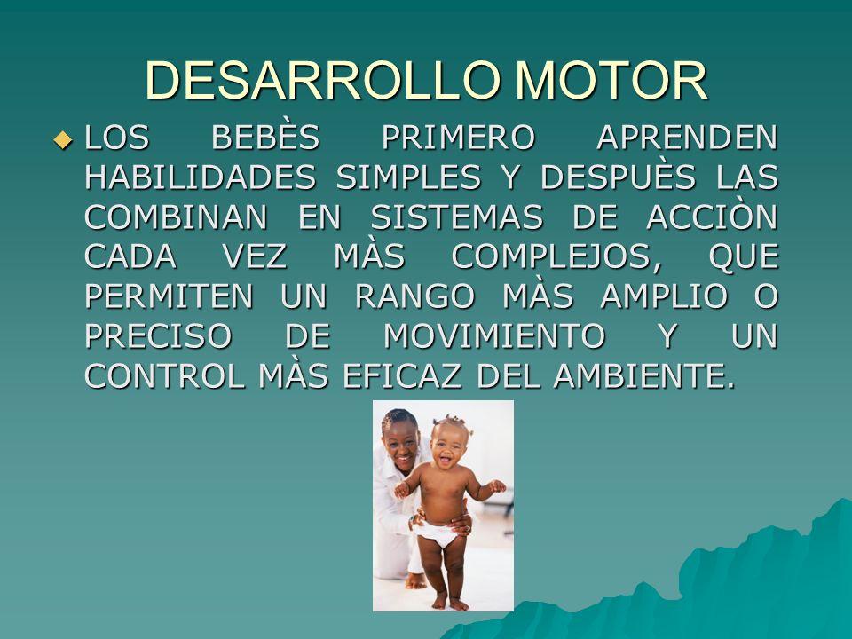 DESARROLLO MOTOR LOS BEBÈS PRIMERO APRENDEN HABILIDADES SIMPLES Y DESPUÈS LAS COMBINAN EN SISTEMAS DE ACCIÒN CADA VEZ MÀS COMPLEJOS, QUE PERMITEN UN R