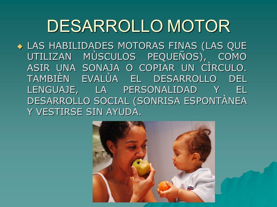 DESARROLLO MOTOR LAS HABILIDADES MOTORAS FINAS (LAS QUE UTILIZAN MÙSCULOS PEQUEÑOS), COMO ASIR UNA SONAJA O COPIAR UN CÌRCULO. TAMBIÈN EVALÙA EL DESAR