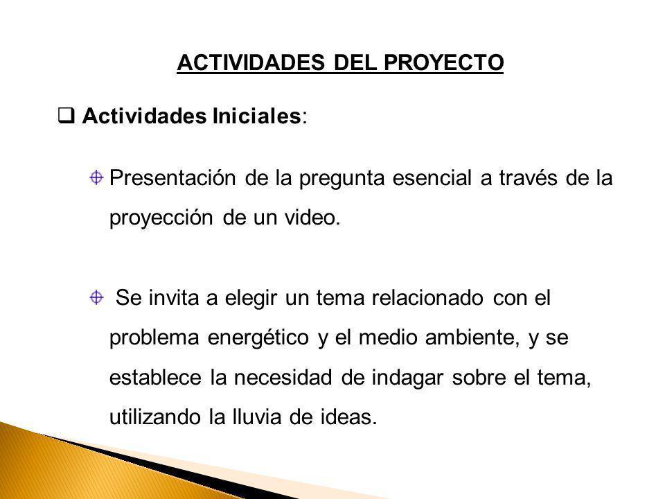 ACTIVIDADES DEL PROYECTO Actividades Iniciales: Presentación de la pregunta esencial a través de la proyección de un video.