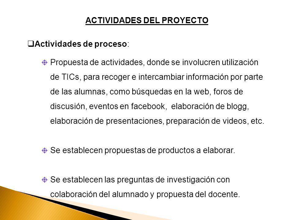 ACTIVIDADES DEL PROYECTO Actividades de proceso: Propuesta de actividades, donde se involucren utilización de TICs, para recoger e intercambiar información por parte de las alumnas, como búsquedas en la web, foros de discusión, eventos en facebook, elaboración de blogg, elaboración de presentaciones, preparación de videos, etc.