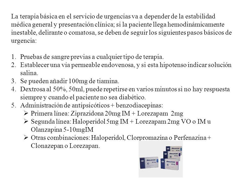La terapia básica en el servicio de urgencias va a depender de la estabilidad médica general y presentación clínica; si la paciente llega hemodinámica