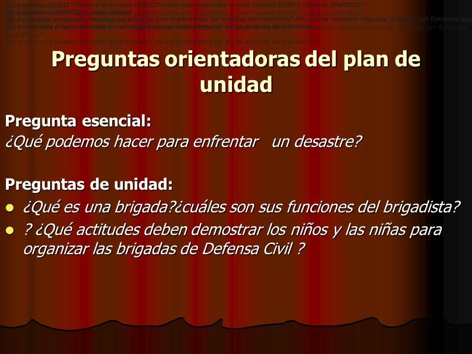 Preguntas orientadoras del plan de unidad Pregunta esencial: ¿Qué podemos hacer para enfrentar un desastre? Preguntas de unidad: ¿Qué es una brigada?¿