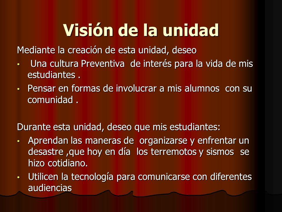 Visión de la unidad Mediante la creación de esta unidad, deseo Una cultura Preventiva de interés para la vida de mis estudiantes. Una cultura Preventi