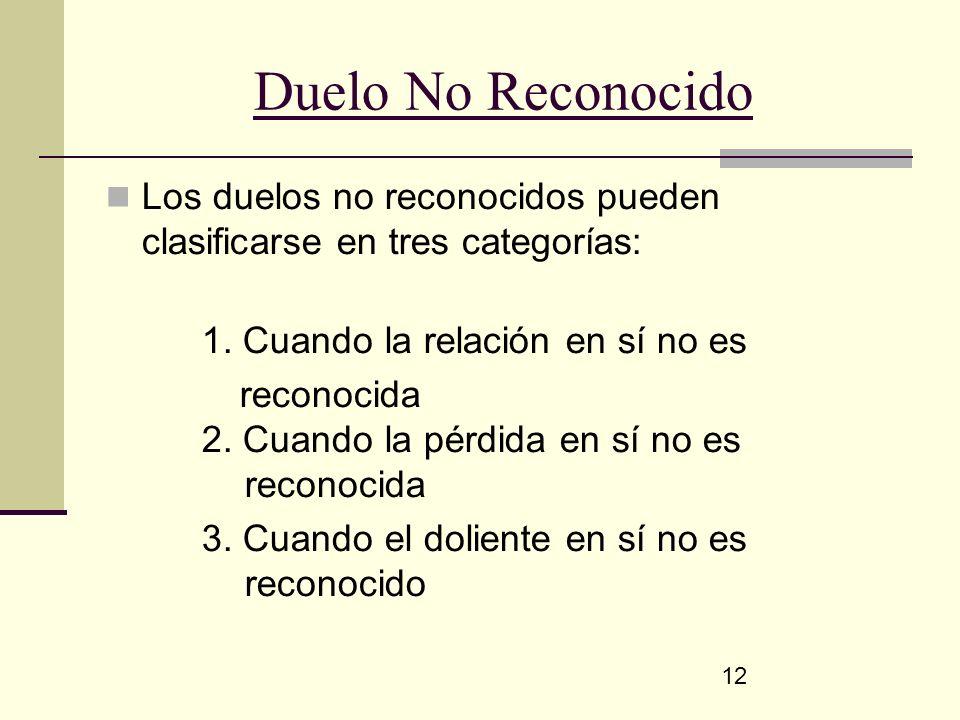 12 Duelo No Reconocido Los duelos no reconocidos pueden clasificarse en tres categorías: 1. Cuando la relación en sí no es reconocida 2. Cuando la pér