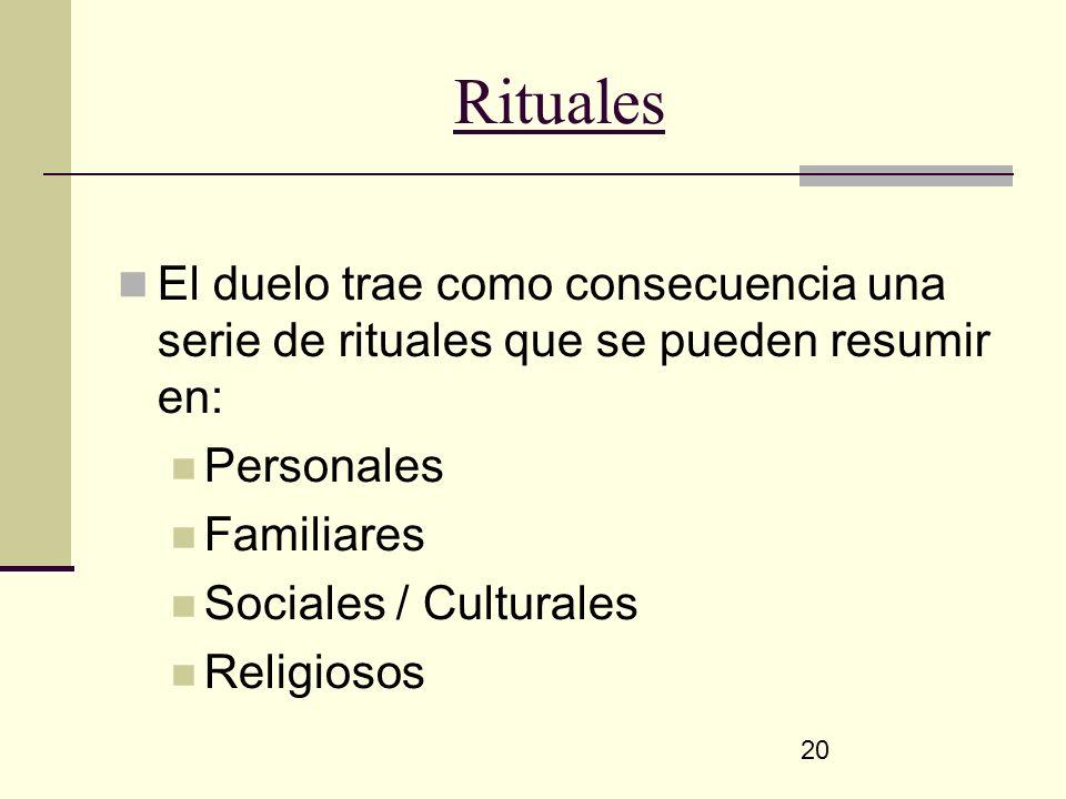 20 Rituales El duelo trae como consecuencia una serie de rituales que se pueden resumir en: Personales Familiares Sociales / Culturales Religiosos