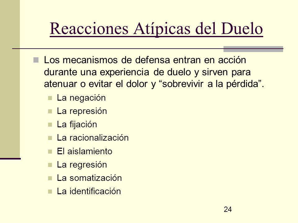 24 Reacciones Atípicas del Duelo Los mecanismos de defensa entran en acción durante una experiencia de duelo y sirven para atenuar o evitar el dolor y