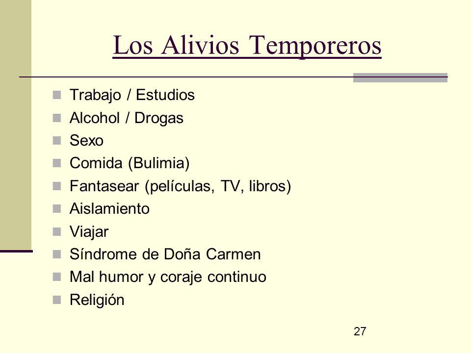 27 Los Alivios Temporeros Trabajo / Estudios Alcohol / Drogas Sexo Comida (Bulimia) Fantasear (películas, TV, libros) Aislamiento Viajar Síndrome de D