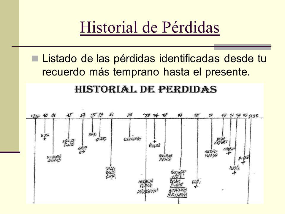 28 Historial de Pérdidas Listado de las pérdidas identificadas desde tu recuerdo más temprano hasta el presente.