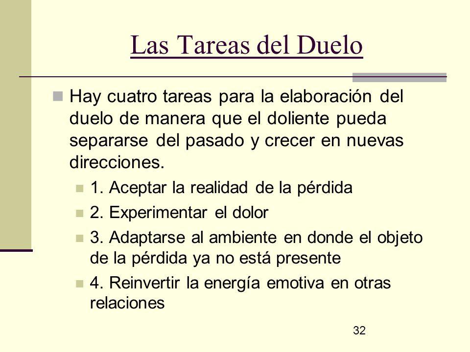 32 Las Tareas del Duelo Hay cuatro tareas para la elaboración del duelo de manera que el doliente pueda separarse del pasado y crecer en nuevas direcc
