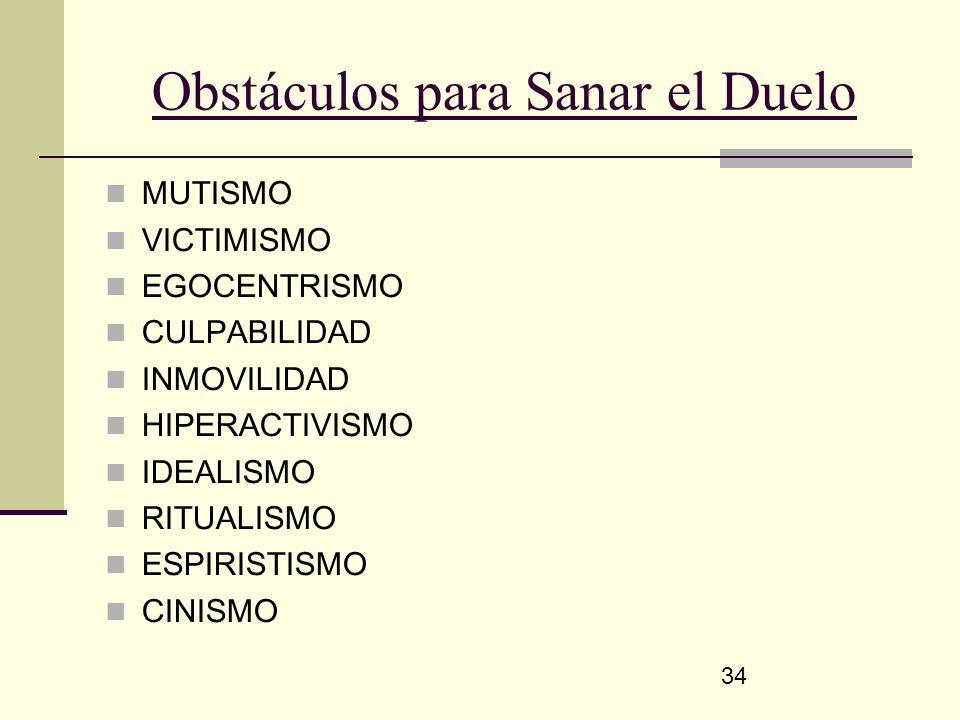 34 Obstáculos para Sanar el Duelo MUTISMO VICTIMISMO EGOCENTRISMO CULPABILIDAD INMOVILIDAD HIPERACTIVISMO IDEALISMO RITUALISMO ESPIRISTISMO CINISMO