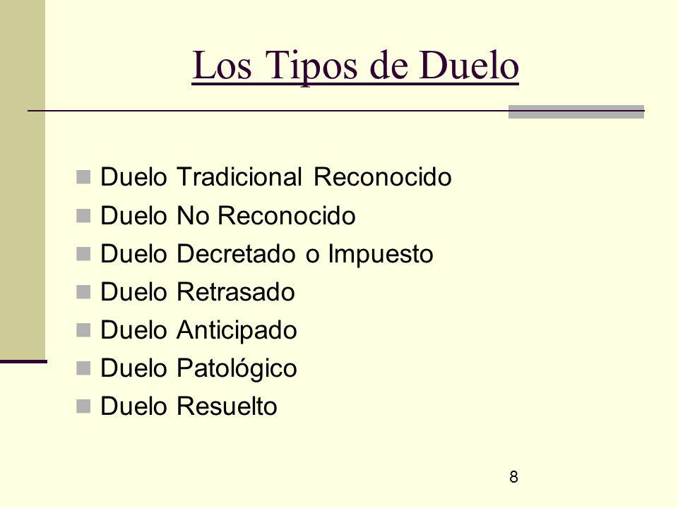 8 Los Tipos de Duelo Duelo Tradicional Reconocido Duelo No Reconocido Duelo Decretado o Impuesto Duelo Retrasado Duelo Anticipado Duelo Patológico Due